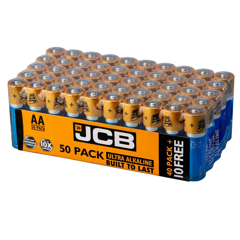 JCB Ultra Alkaline AA Batteries - Extra Value 40+10 Pack