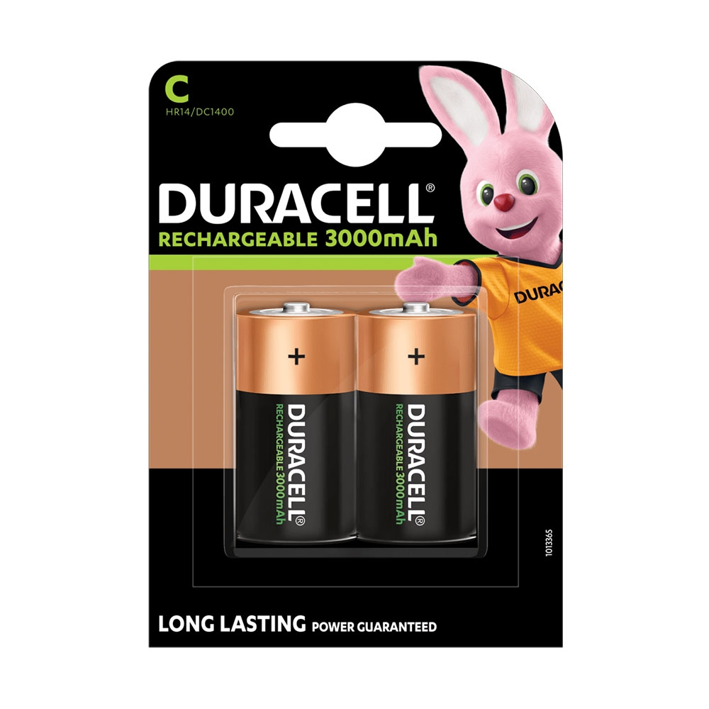 Duracell Rechargeable C Cell HR14 MN1400 NiMH Batteries 3000mAh - 2-Pack