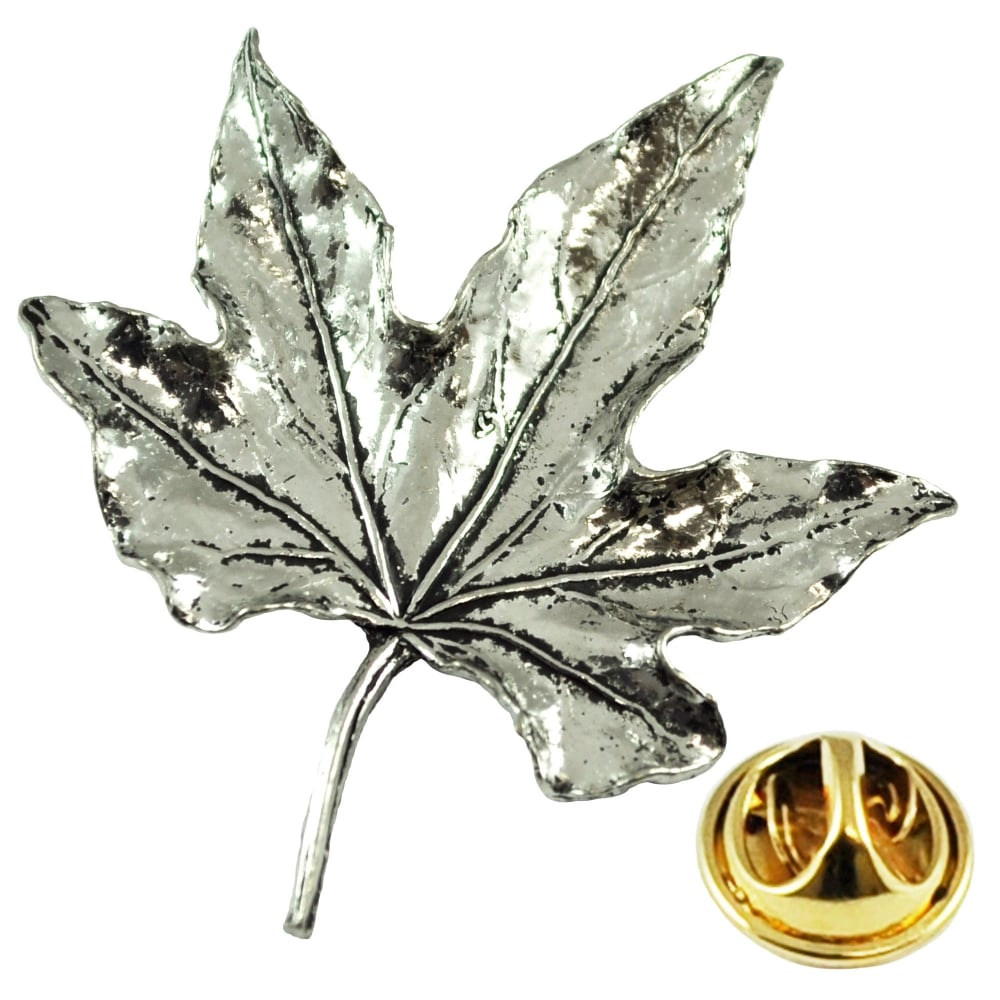 Leaf English Pewter Lapel Pin Badge