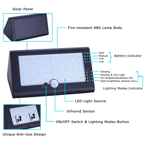 IP54 35 LEDs 6W 600LM Solar Powered Rechargeable Light with USB Cable