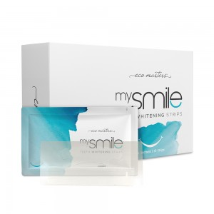 mysmile Teeth Whitening Strips - Natural Teeth Whitening at Home -  Mint Flavour Formula - 28 Whitening Strips - Vegan Friendly & with No Peroxide