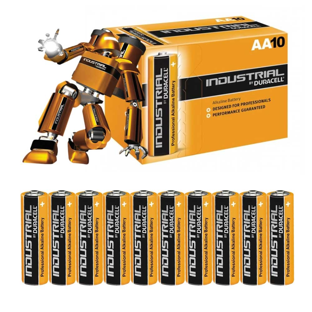 Duracell INDUSTRIAL AA MN1500 lr6 Alkaline Batteries - Extra Value 10 Pack