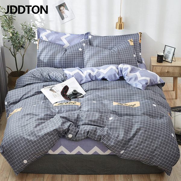 JDDTON Classical Bedding Set Grey Plaid Love Bed Linen Duvet Cover Set AB Side Bed Sheet Pillowcase Cover BE066