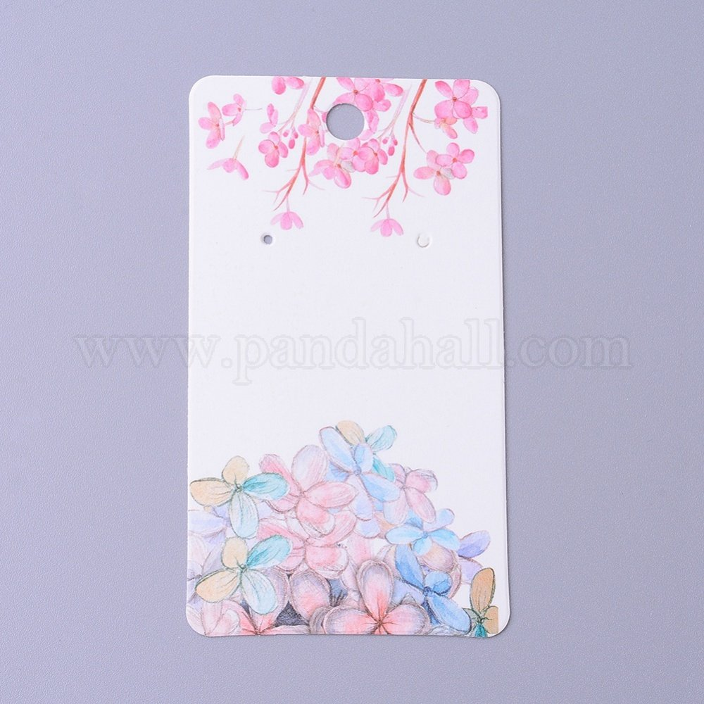 Cardboard Earring Display Cards, Rectangle with Flower Pattern, White, 9x5x0.04cm, Hole: 1.5mm