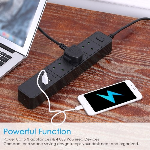 Power Strip With 3AC Interface and 4 USB Charging Port