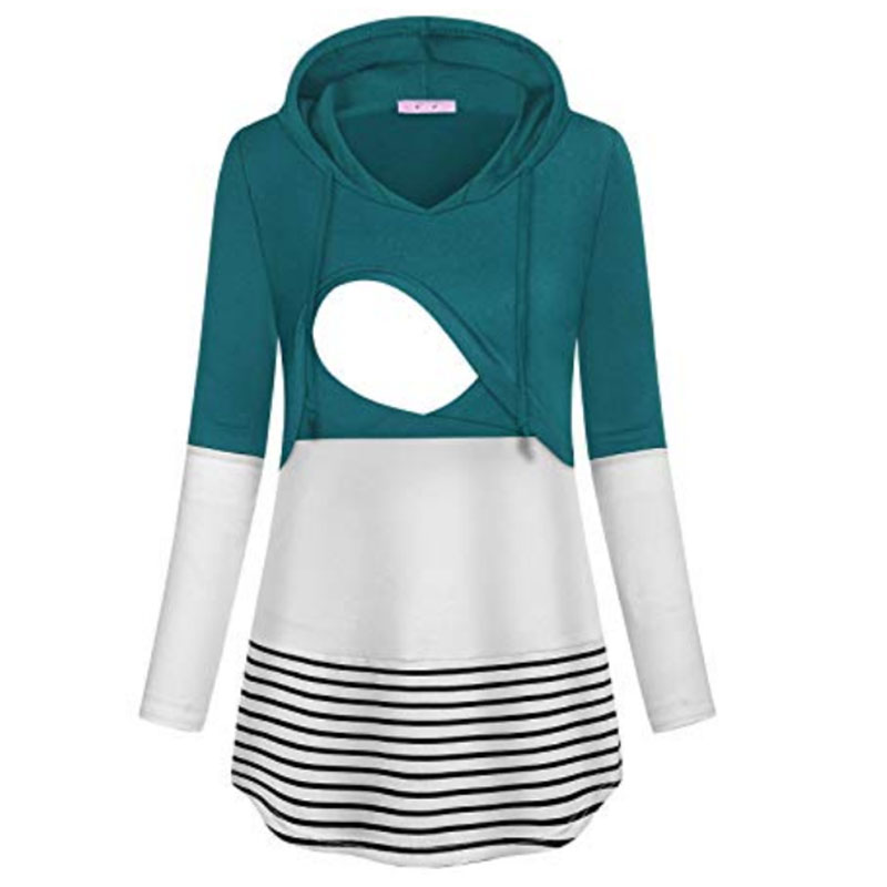Casual Colorblock Long-sleeve Nursing Hoodie