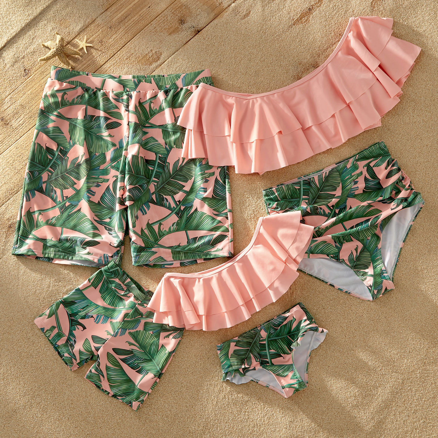 Mosaic Off-shoulder Flounce Leaf Print Matching Swimsuits