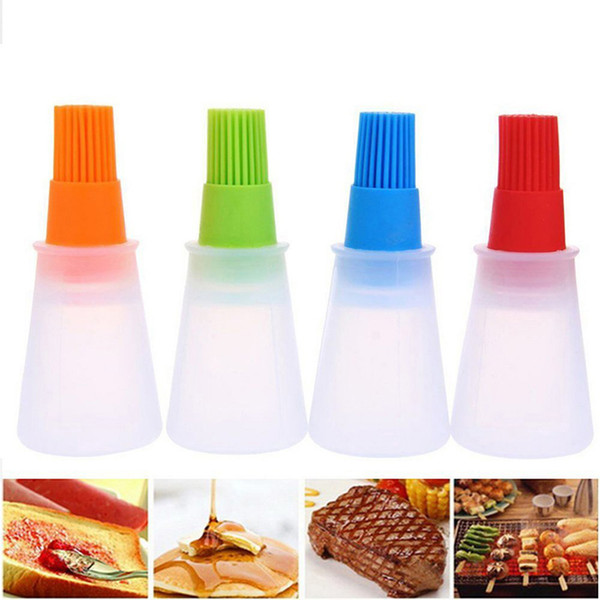 silicone oil bottle with brush portable baking bbq basting brush pastry oil kitchen baking honey barbecue tool gadgets