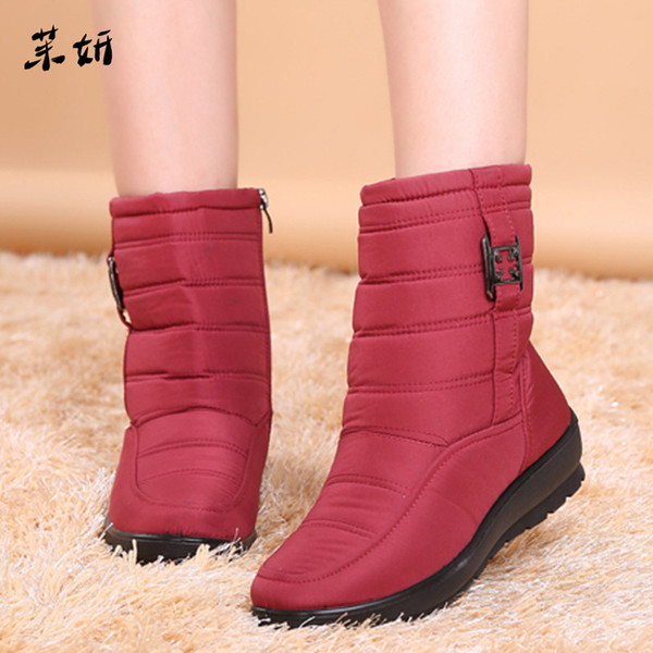 Women Boots Thick Plush Warm Women Ankle Boots Female Winter Waterproof Snow Booties Winter Shoes Botas Mujer