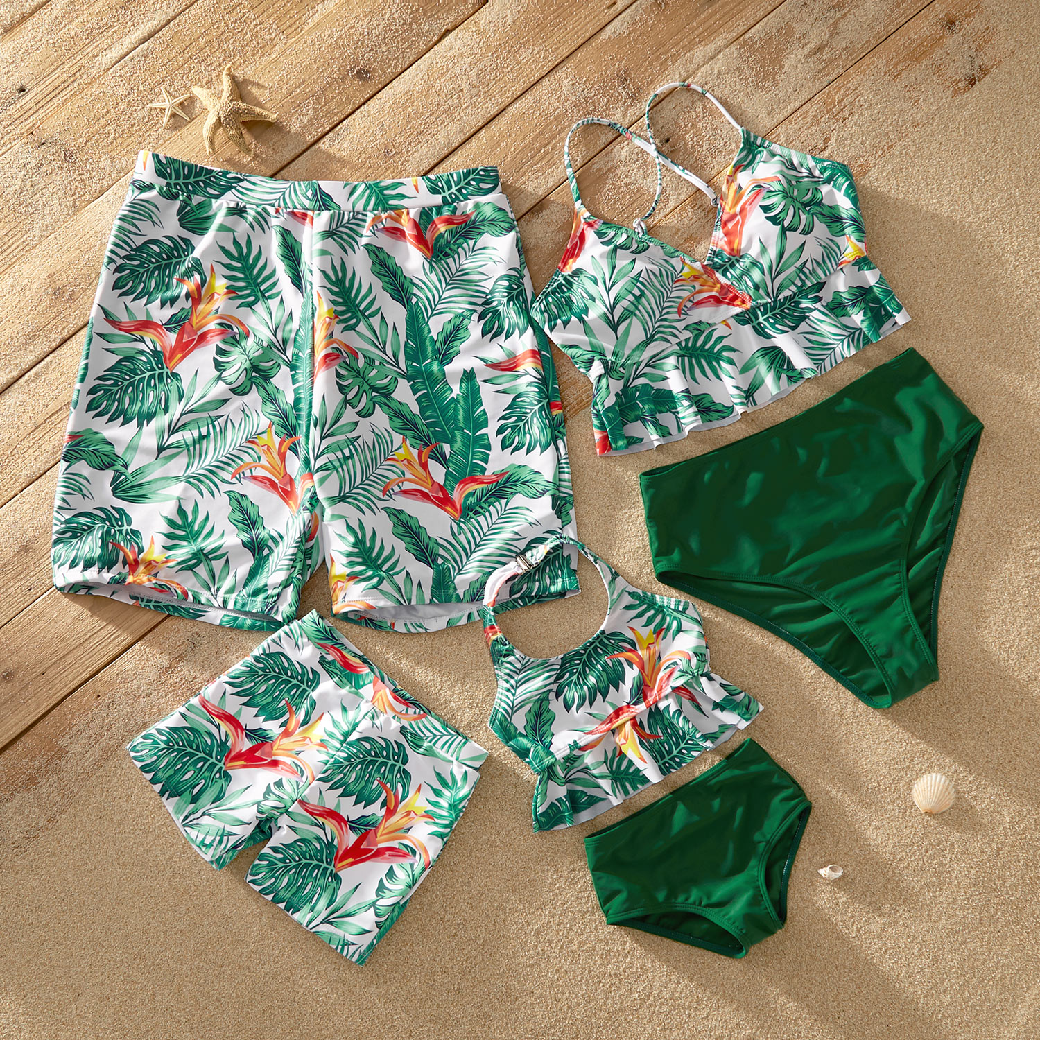 Ruffle Hem Tropical Print Matching Swimsuits