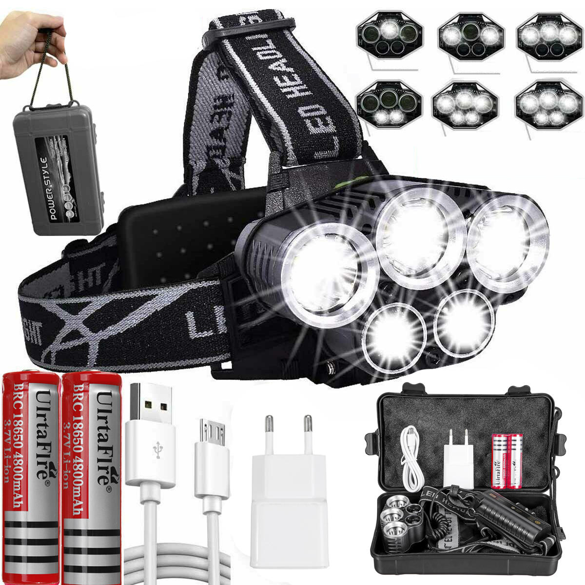 BIKIGHT 3400LM T6+XPE LED Bike Headlamp Rechargeable 6 Modes Flashlight Camping Cycling Night Warning Lamp