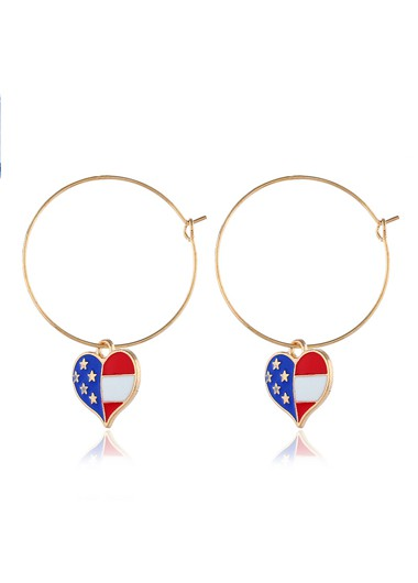 Metal Ring Detail American Flag Print Earrings