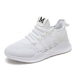 Women's Trainers Athletic Shoes Wedge Heel Round Toe Sporty Athletic Outdoor Running Shoes Walking Shoes Mesh Lace-up Solid Colored White Black Pink