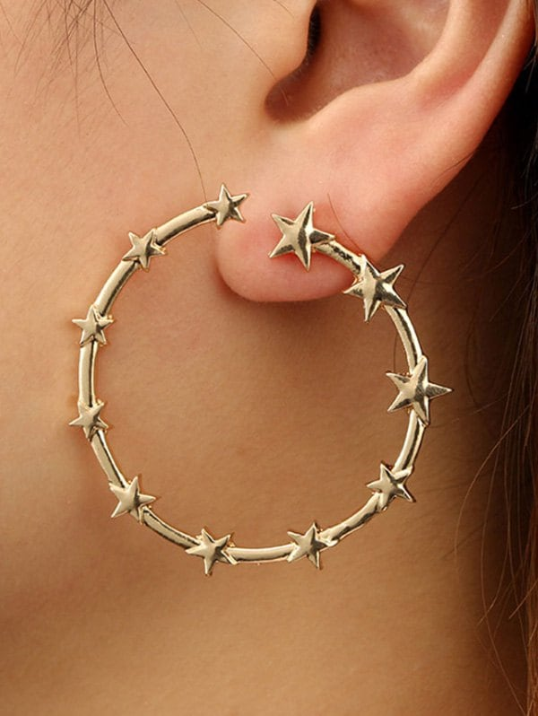 Star Circle Shape Alloy Earrings