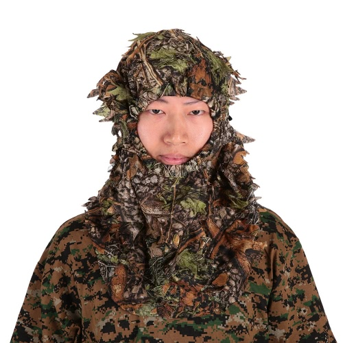 Camouflage Leafy Hunting Ghillie Hood Green Leafy Head Net Eyehole Opening and Leaf Pattern