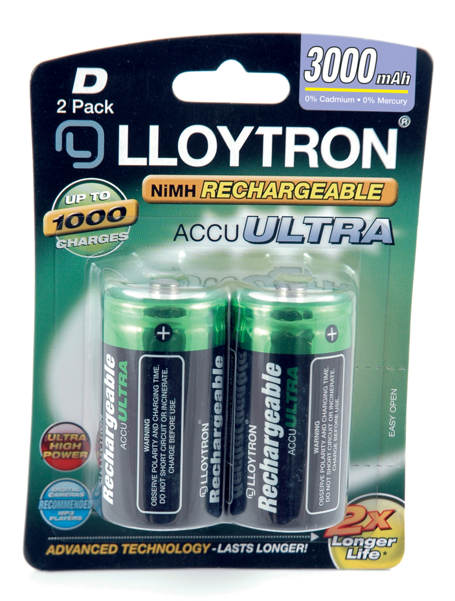 Lloytron ACCU ULTRA D Cell Rechargeable Batteries NiMH 3000mAh Capacity - 2 Pack