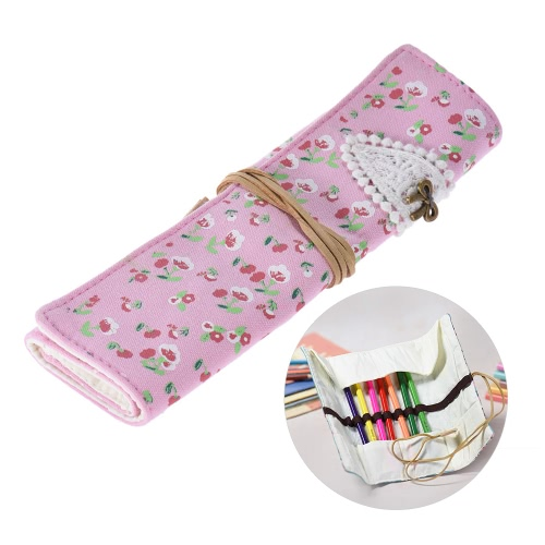 Flower Pattern Canvas Roll Up Makeup Cosmetic Brushes Pen Pencil Bag Case Holder Pouch Stationery Gift for   Girls Students