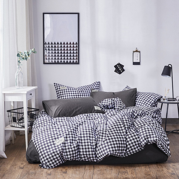 Classic Duvet qulit cover set bed linen flat fitted sheet pillowcase Japanese stripe grid bedding set queen king Twin white grey