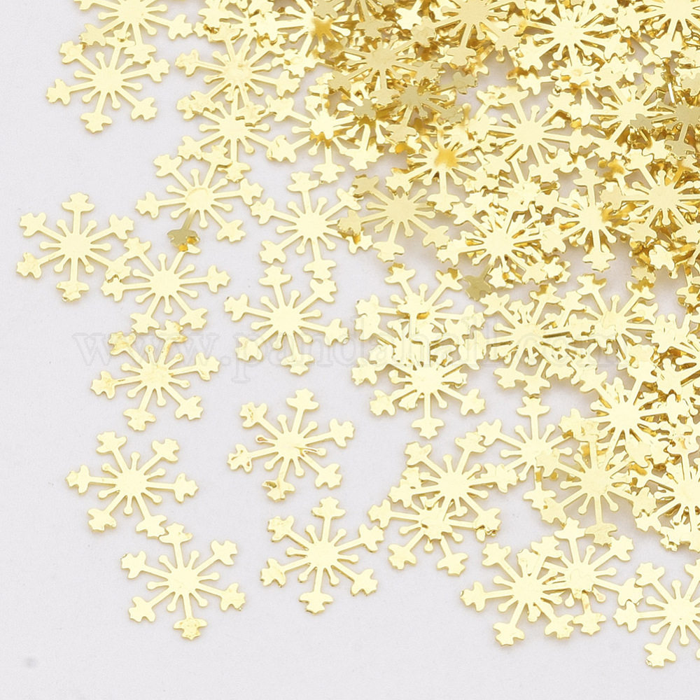 Brass Cabochons, Nail Art Decoration Accessories, Snowflake, Golden, 5.5x4.5x0.1mm; about 10000pcs/bag