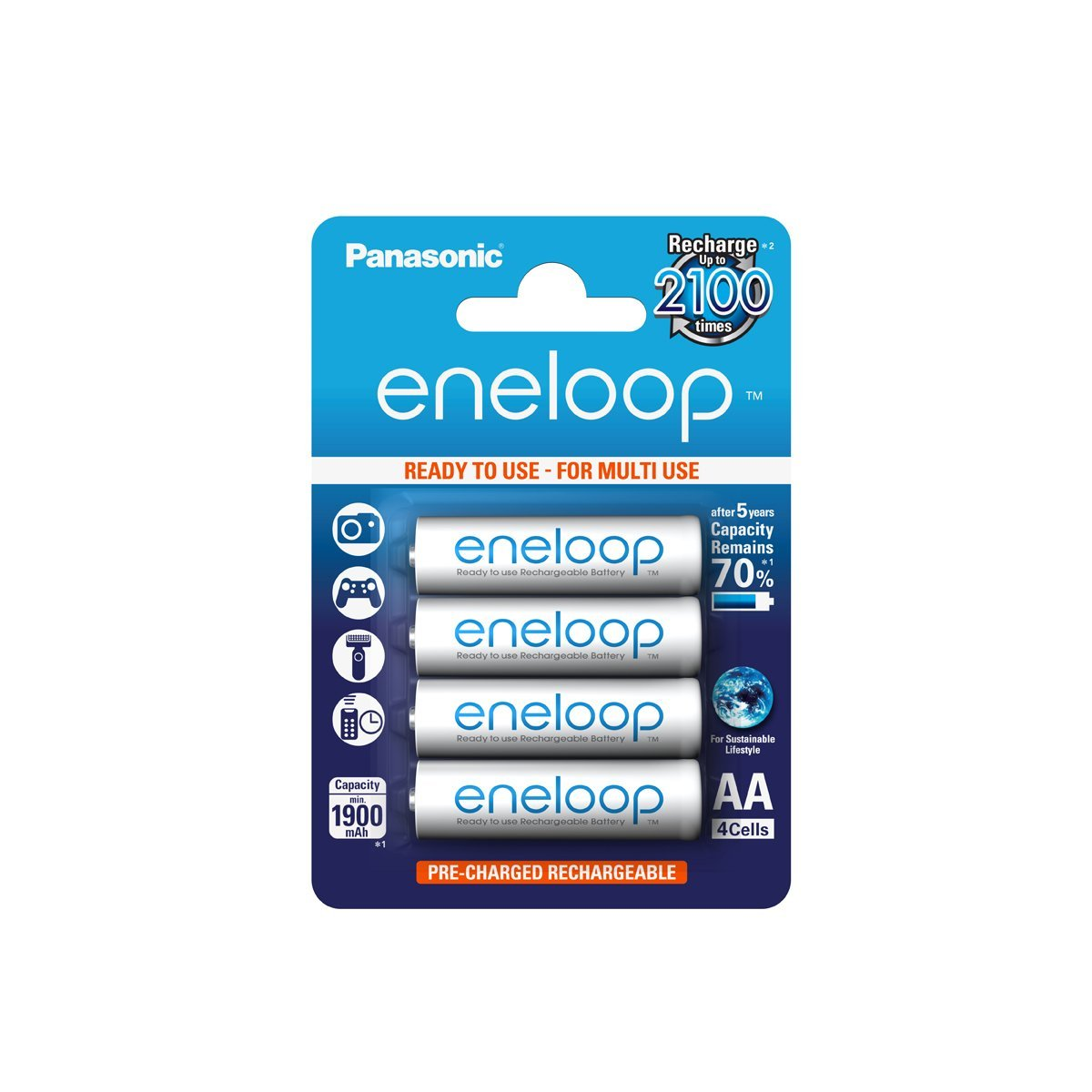 Panasonic Eneloop AA HR06 Ni-Mh Rechargeable Batteries 1900mAh Capacity Ready to Use - 4 Pack