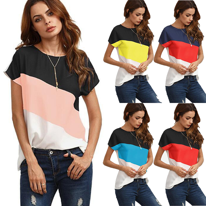 Elegant Color blocked Short-sleeve Tee