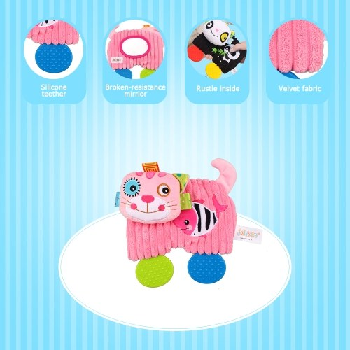 Baby Comforter Plush Teething Toys Cartoon Animals with Magic Mirror Baby Soothing Toys Yellow Lion