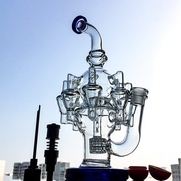 11.8 Inches Recycler Bong Waterpipe Dab Oil Rigs Matrix Perc Smoking Glass Water Pipes Octopus Arms Bent Tube Bongs 14mm Titanium Nail