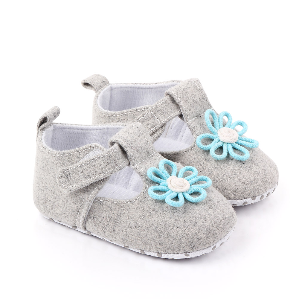 Baby / Toddler Girl Pretty Floral Decor Solid Velcro Shoes (Various colors)