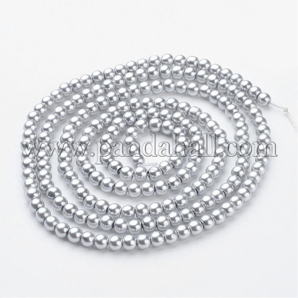 Glass Pearl Beads Strands, Pearlized, Round, Silver, 4mm, Hole: 0.8~1mm, about 216pcs/strand, 32