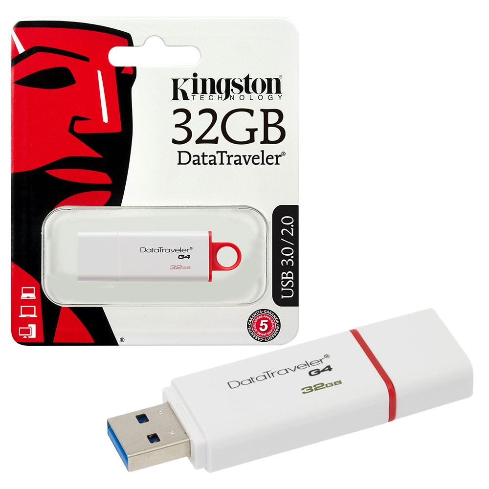 Kingston DataTraveler G4 USB 3.0 Flash Drive USB 3.0 Memory Stick - 32GB