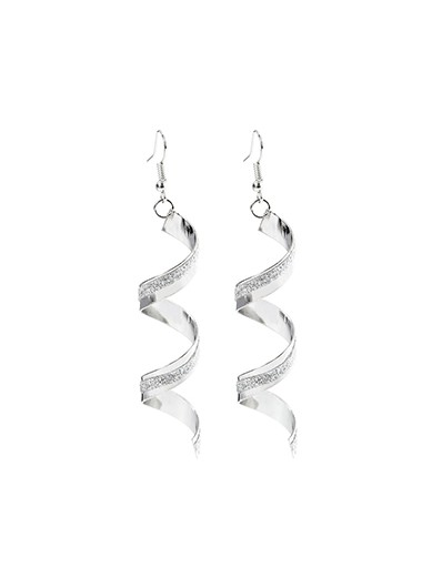 Women Spiral Hook Silver Metal Earrings