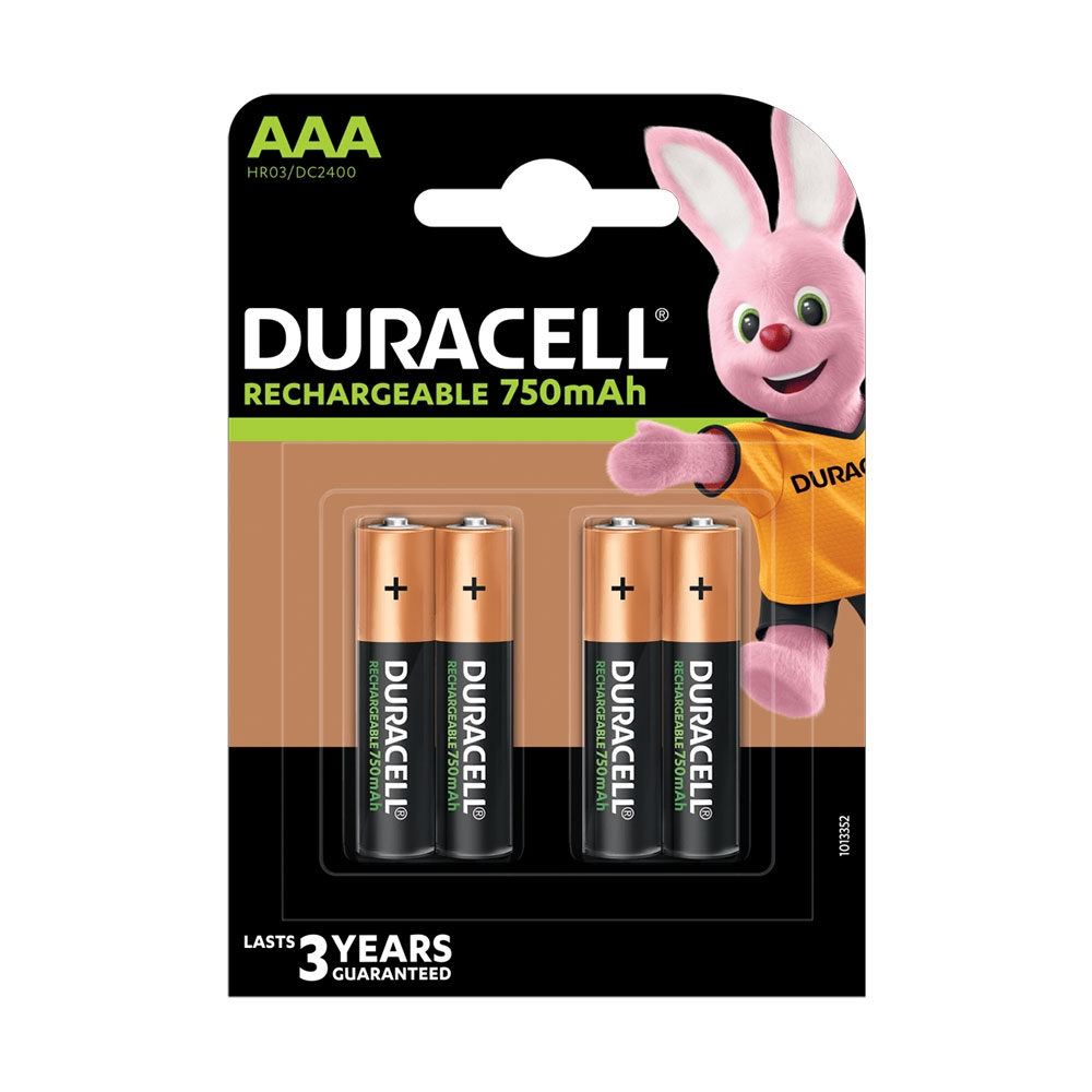 Duracell AAA Rechargeable Batteries NiMH Stay-Charged 850mAh - 4 Pack