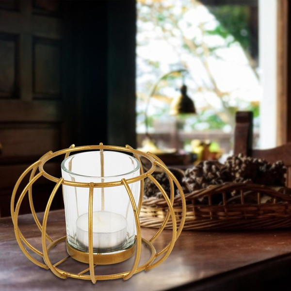 Nordic Style Wrought Iron Arc Round Geometric Candle Holder Candlestick Metal Crafts Home Decoration