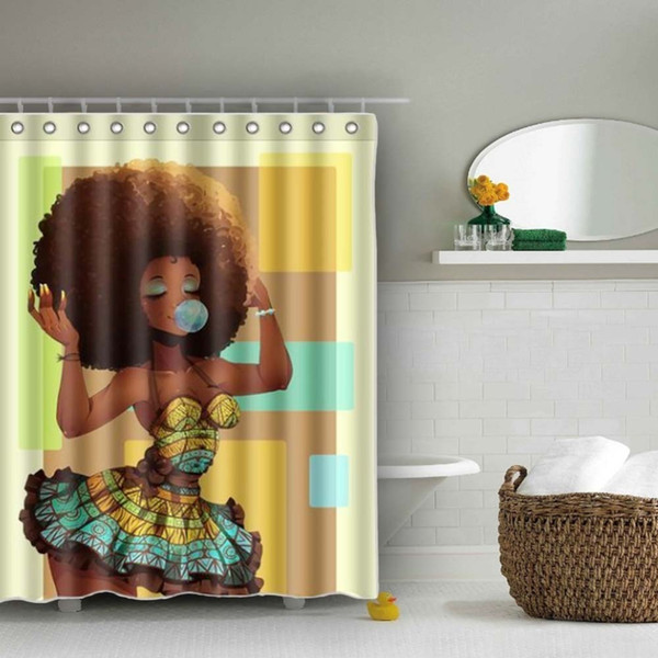 home decor bathroom big hair african woman pattern waterproof polyester bath shower curtain