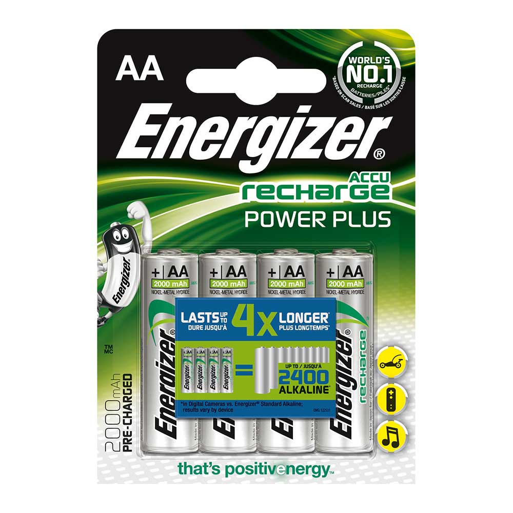 Energizer ACCU Power Plus AA Rechargeable Batteries NiMH 2000mAh - 4 Pack