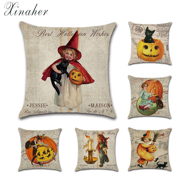 vintage halloween girl pumpkin classic nostalgia linen throw pillow car home decoration decorative pillowcase cushion cover