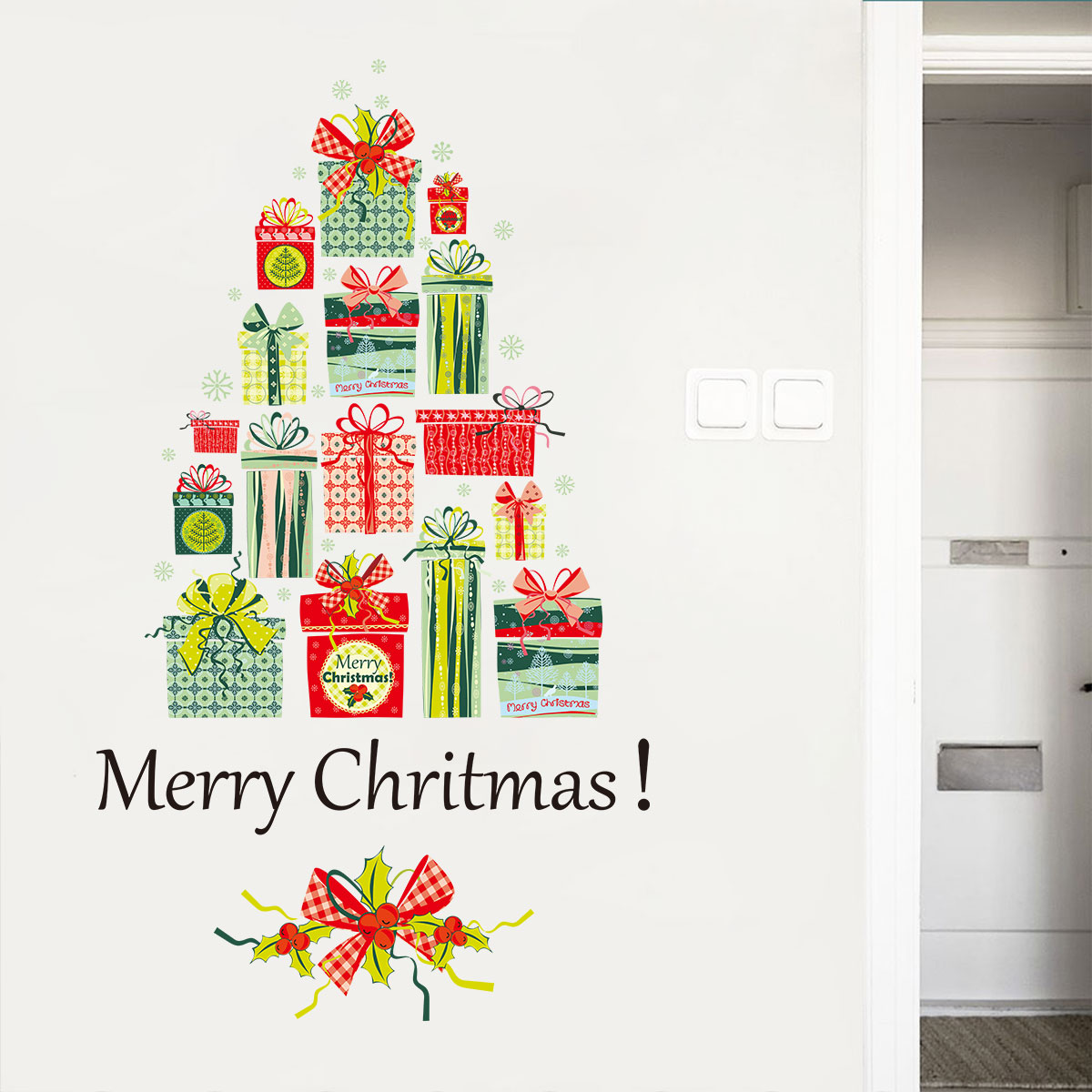 Christmas Gift Window Glass Wall Stickers