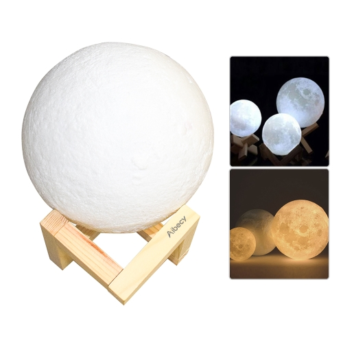 Aibecy 8cm/ 3.15 Inch Moon Lamp USB Rechargeable LED 3D Printed PLA Night Light Home Decorative Lights Touch Control Brightness Stepless Dimmable Warm Yellow & Cool White 3000K-6000K