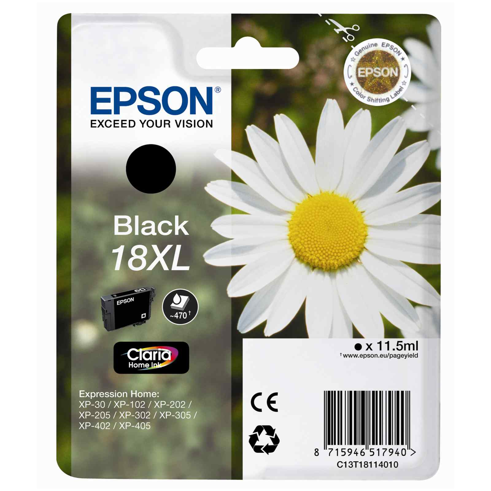 Epson Original 18XL T1811 Daisy Ink Cartridge 11.5ml Black