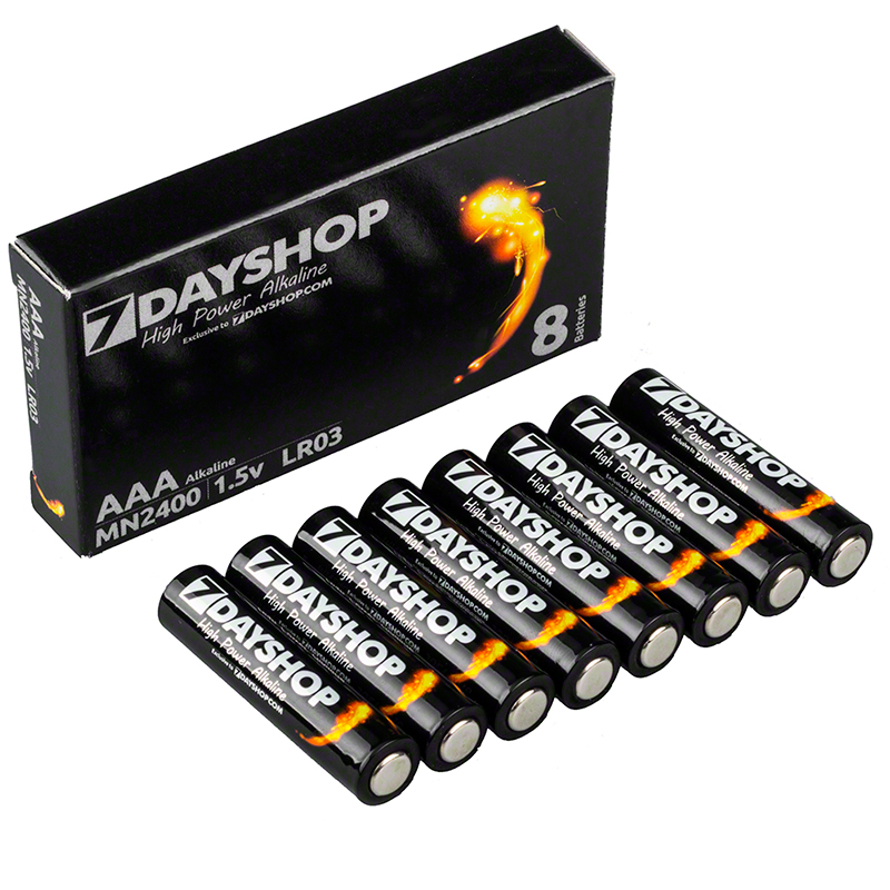 7dayshop AAA LR03 High Power Alkaline Batteries - Value 8 Pack