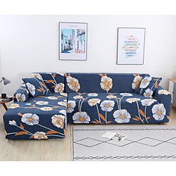 Flower Print 1-Piece Sofa Cover Couch Cover Furniture Protector Soft Stretch Slipcover Spandex Jacquard Fabric Super Fit for 1~4 Cushion Couch and L Shape Sofa,Easy to Install(1 Free Cushion Cover