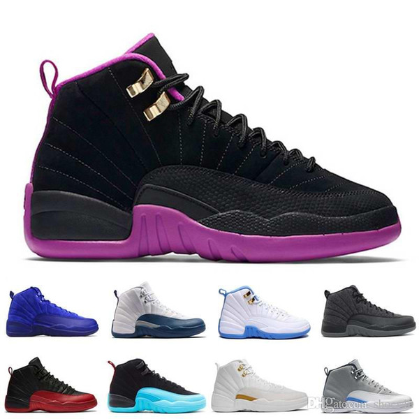 [With Box]Mens Basketball Shoes XII 12 Men Women 12s Flu Game French Blue The Master Gym Red Taxi Playoffs Shoes Sport Shoe 5.5-13