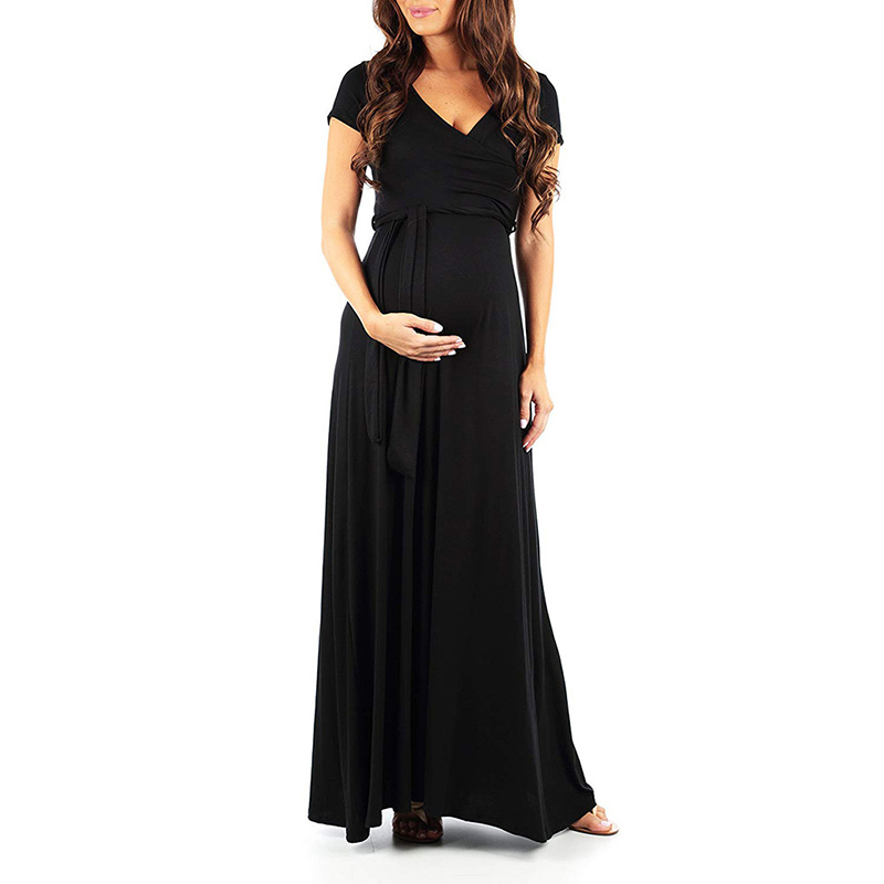 Trendy Solid V Neck Short-sleeve Maternity Maxi Dress