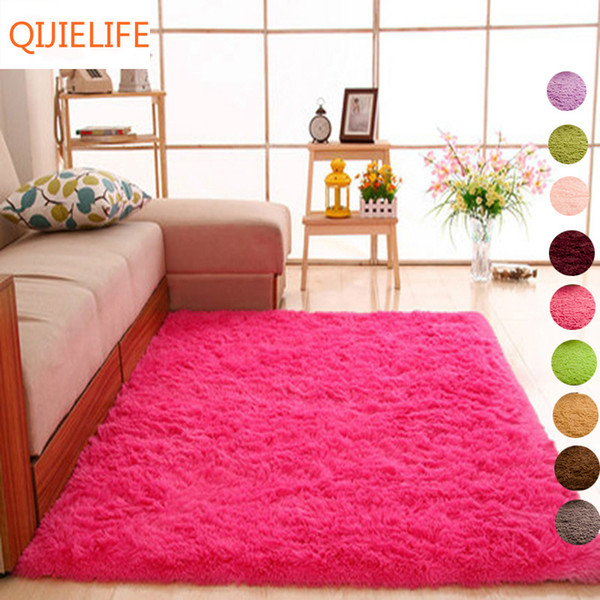 long hair solid carpet shaggy area rugs anti-slip carpets for living room bedroom l rectangle carpet-accept custom