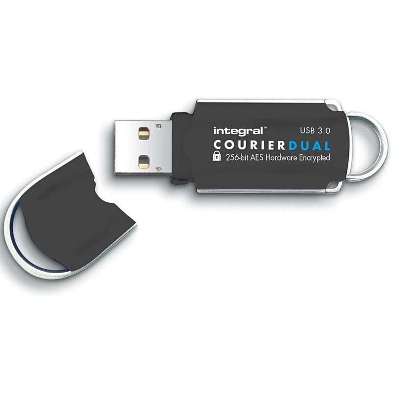 Integral 32GB Courier Dual FIPS 197 Encrypted USB 3.0 Flash Drive - 140MB/s
