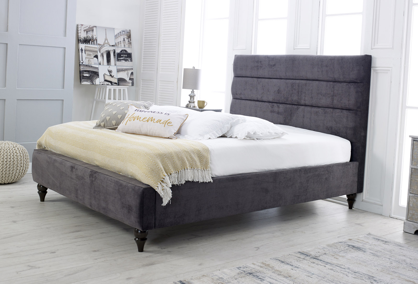 Anna Fabric Upholstered Bed Frame - Single