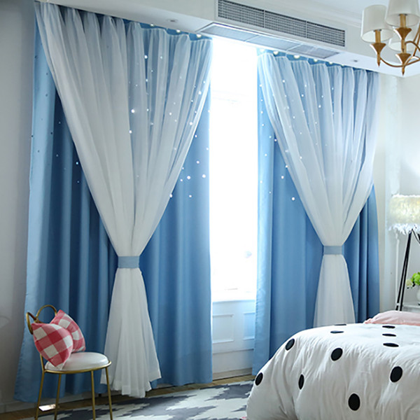 drop shipping starry sky sheer curtain tulle window treatment voile drape valance double-deck curtains