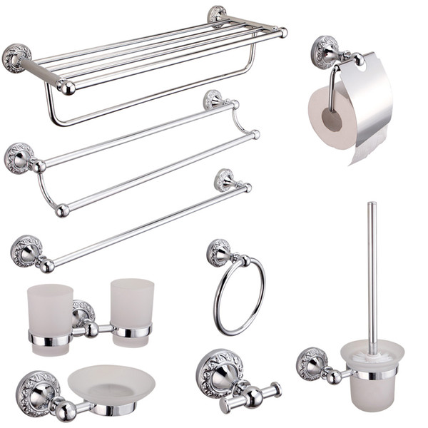 auswind carved bathroom towel bar 30/40/50/60cm silver toilet paper holder mirror plated surface finishing bathroom hardware set