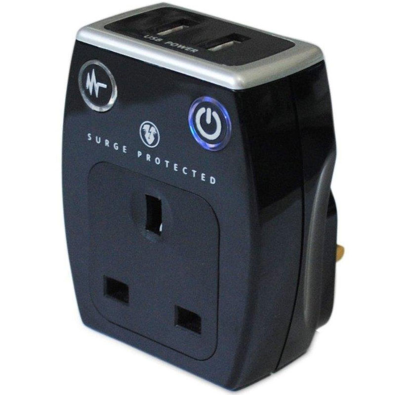 Masterplug USB Charger with Plug Through Surge Socket + 2 x 3.1A USB Ports - Black