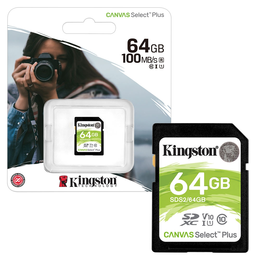 Kingston Canvas Select Plus SDXC Memory Card UHS-I 4K FULL HD 100MB/s - 64GB